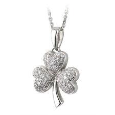 14k White Gold .35ct Genuine Diamond Shamrock Pendant Necklace Solvar s44499