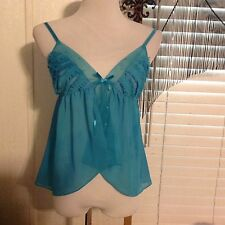 VICTORIA'S SECRET SEXY LITTLE THINGS BABY DOLL Top CHEMISE SIZE Small turquoise