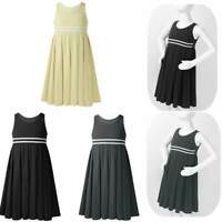 Girls Kids Princess Dress Sleeveless Cotton Pleated Sundress Casual Wear Skirts