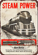 New Haven Railroad Steam Power Reproduction Metal tin Sign 8 x 12