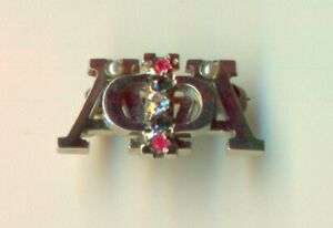 Alpha Phi Alpha fraternity 14k white gold diamond emerald ruby pin - Cornell