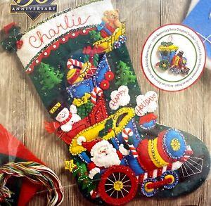 "Plaid Bucilla ""Choo Choo Santa"" Christmas Stocking Felt Appliqué Kit"
