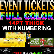 """500 Event Tickets 14PT THICK 2""""x5.5"""" Full Color 2 x 5.5 With Numbering CUSTOM"""