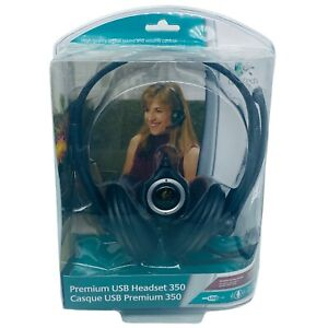 Logitech Premium USB 350 Skype Certified Headset Noise Canceling Microphone HG54