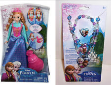 Disney FROZEN ANNA COLOR CHANGE DOLL Figure & JEWELRY Bead Set Necklace Ring NEW