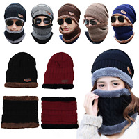 Men's Winter Beanie Hat and Scarf Set Warm Fleece Knitted Thick Cap Unisex 2PCS