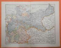 DEUTSCHES REICH Preussen Schlesien LANDKARTE 1907 Sachsen Bayern Posen DR