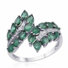 Marquise Cut Emerald 2.16ctw Diamond Ring Size 7 14k White Gold over 925 SS