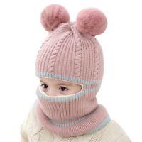 Sciarpa con Cappuccio per Bambini e Ragazzi Cappello Inverno Caldo Bavaglin J1E7
