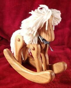 "9"" Oak Hardwood Rocking Horse w/ Movable Legs Luxurious Yarn Mane & Tail"