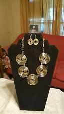 Earrings. Fit For A Queen. Beautiful! Gold Circular Disk Necklace With Matching