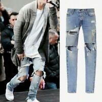 Kanye West Bieber Men's Jeans Washed Ripped Casual Denim pants Slim Hole Jeans