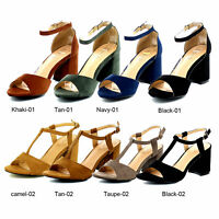 Women's Buckle Ankle Strap Single Band Open Toe Chunky High Heel Dress Sandals