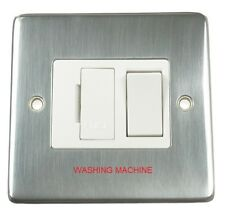 Eurolite 13A DP Switched Fused Spur Stainless Steel White Marked Washing Machine