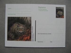 SLOVENIA, ill. prestamped PC 1998, mint, wild cat
