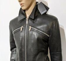 BNWT Dsquared2 Mens Pelle Leather Biker Jacket Bomber Sz 54 UK XXL RRP £2000