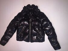 NWOT 2B RYCH Black Shiny Ruffled Puffer Down Cropped Jacket Coat S