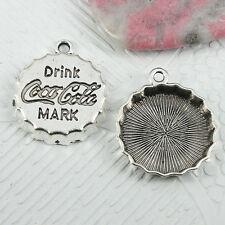 9pcs Tibetan Silver color bottle cap design charms EF0949
