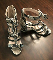 Nine West Heels Women's NW Giovanna Snake Print Strappy Bow Heels Size 7.5 New