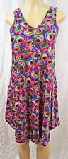 Womens Sun Dress Peacock Feather Design Parachute Summer Dresses NWT OSFA