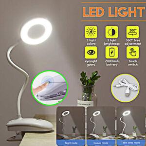 Rechargeable USB Flexible Reading LED Light Clip-on Beside Bed Desk Table Lamp
