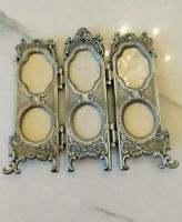 Vtg style Victorian Embossed metal Trifold Photo Frame picture ornate