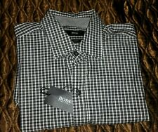 New HUGO BOSS Mens Black with white robbie Plaid Casual  M  Shirt