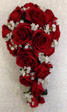 New Artificial Apple Red Wedding Bouquet Red Rose Bride's Bouquet, Apple Bouquet