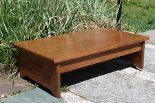 """Handcrafted Heavy Duty Wood Bedside Step Stool, Bed, 7"""" tall, 14 x 24"""" Brown Mah"""
