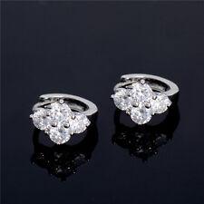 Elegance Flower Hoop Earrings White Gemstone White Gold Plated Wholesale 2016