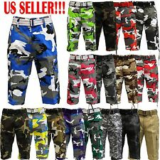 CAMOUFLAGE CAMO ARMY SHORTS SOLID Cargo MENS Shorts With Belt Cotton