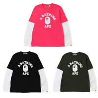 (S-3XL) ONLINE EXCLUSIVE A BATHING APE Men's COLLEGE LAYERED L/S TEE 3colors New