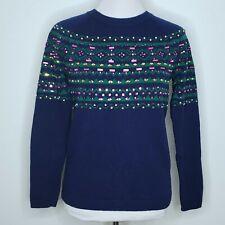 Talbots Sweater Size Medium Petite Womens Embellished Nylon Lambswool MP Blue