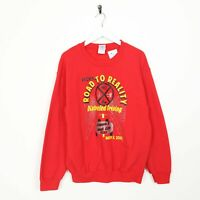 Vintage Novelty Graphic Road To Reality Big Logo Sweatshirt Red | Medium M