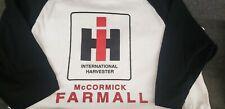 International Harvester McCormick Farmall Raglan ¾ Sleeves Black White T-Shirt M