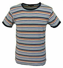 Mens Retro Mod 60s Indie Multi Striped Cotton T Shirt …