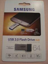 NEW Samsung 64GB USB 3.0 MUF-64CB Duo OTG Flash Memory Drive Stick 130MB/s