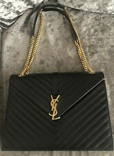 Saint Laurent black Leather Crossbody Bag With gold YSL Initials And Chain Strap