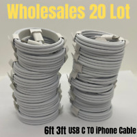 Lot 20 USB-C to iPhone Cable 3/6Ft PD Fast Charger Cord For Apple 12 11 Pro iPad