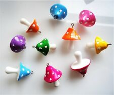 10 GORGEOUS 3D MUSHROOM TOADSTOOL CHARMS  - FAST FREE SHIPPING