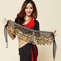Belly Dance Costume Hip Scarf Belt Wrap Cameo Gold Coins Sequins Beads Skirt