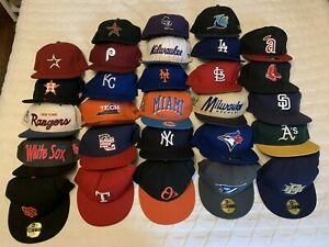 Lot of 28 Hats Fitted Size 7.5 New Era 59Fifty Baseball Vintage