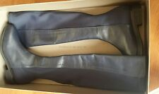BCBG MAXAZRIA~$388.00~LEATHER OVER-THE-KNEE TALL RIDING FLAT BOOTS 6.5 NAVY