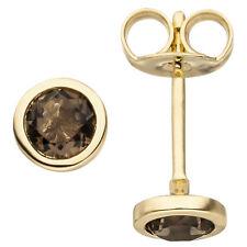 Damen Ohrstecker 585 Gold Gelbgold 2 Rauchquarze Ohrringe Goldohrringe 5,6 mm