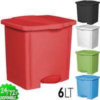 Papelera Cubo de Basura en Plastico Reforzado 6 Litros Sanitarios Oficina Cocina