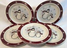 "Set of 8* ROYAL SEASONS Stoneware Snowmen 10"" Dinner Plates Holiday Christmas"