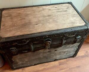 Vintage /antique 1900? Flat-top Steamer Trunk~ Original Lining!!!