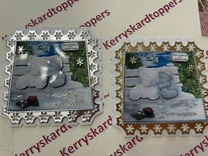 2 x Decoupage Pictures of CHRISTMAS Bear Special Couples Theme Toppers