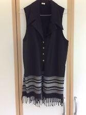 Lovely Long Fringed Waistcoat Size 10 Black with White Border Hippie Boho