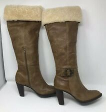 Alain Manoukian Accessories Women Tall Brown Leather Fur Boots Size EU 38